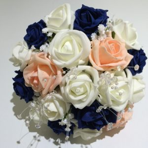 blue, pink and white posy