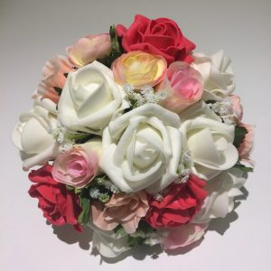 artificial wedding flowers in red and white