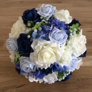 Mixed blues silk wedding flowers
