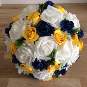 blue yellow silk wedding bouquet