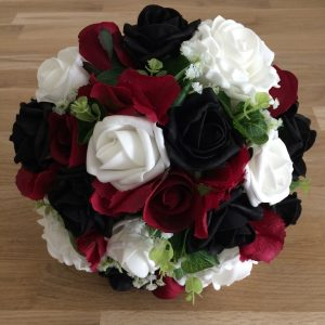Burgundy black white wedding flowers