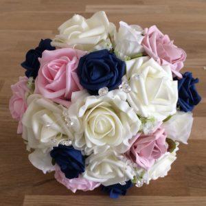 pink blue foam roses