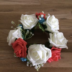Candle ring silk flowers