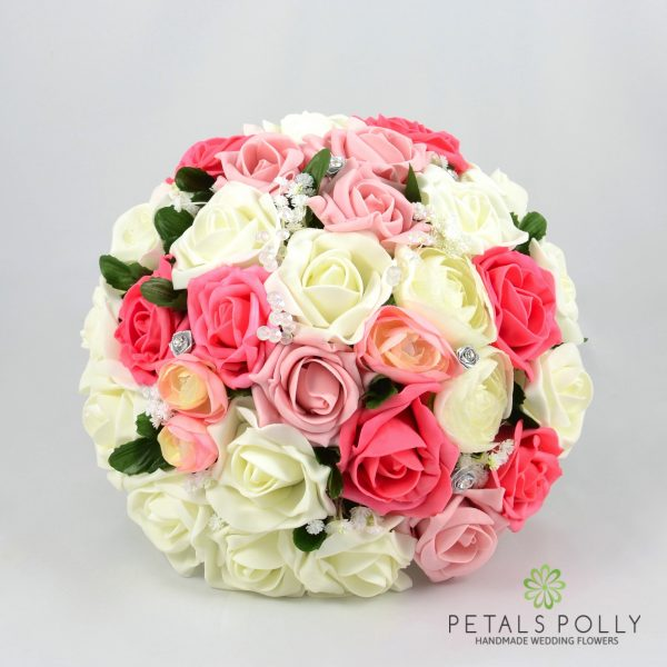 Antique Pink, Coral & Ivory Rose Brides Posy with Ranunculus
