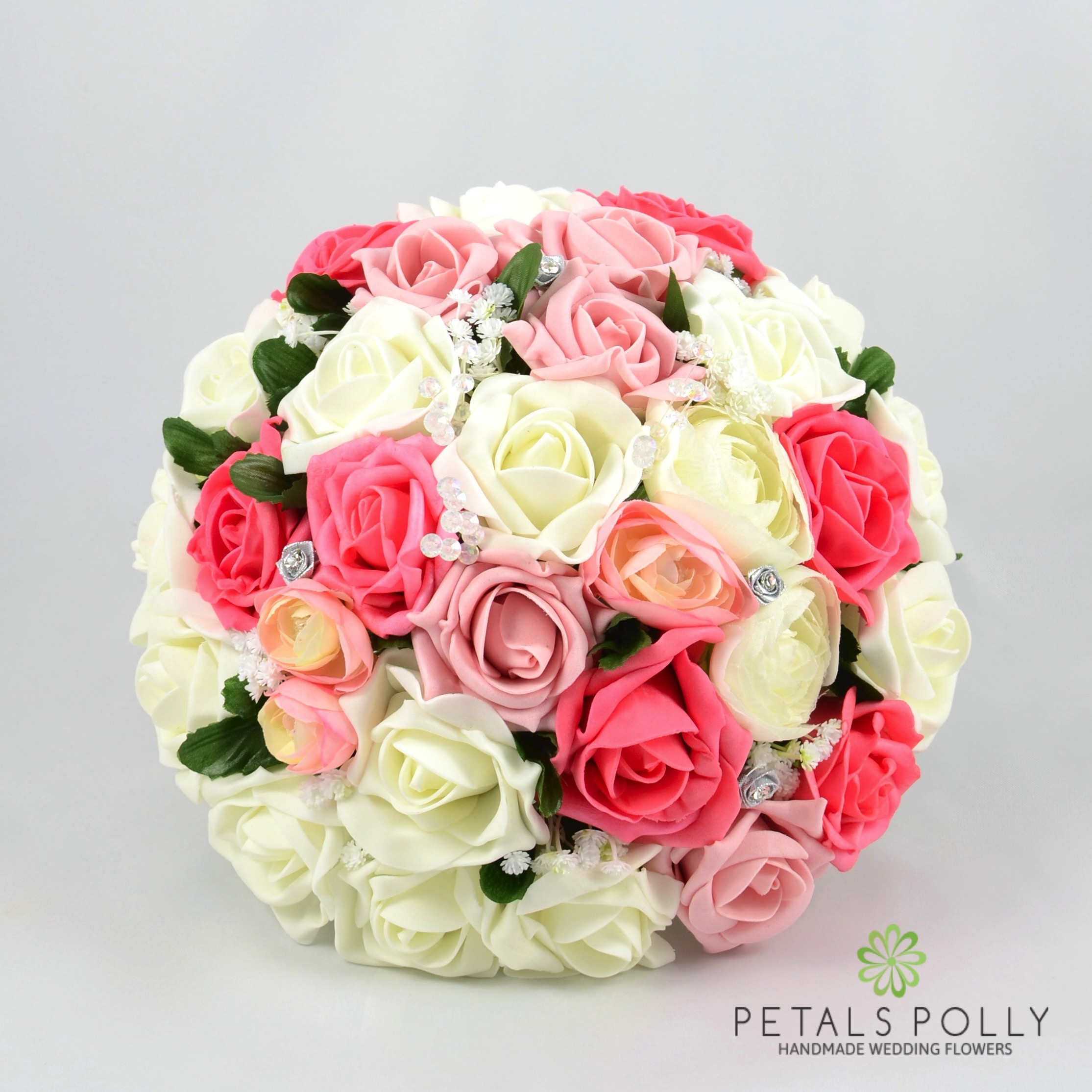 Antique Pink Coral Ivory Rose Brides Posy With Ranunculus