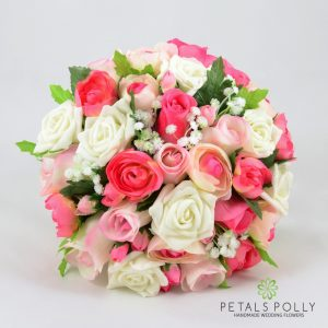 mixed pink silk rose brides bouquet