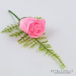 Silk baby pink rose buttonhole