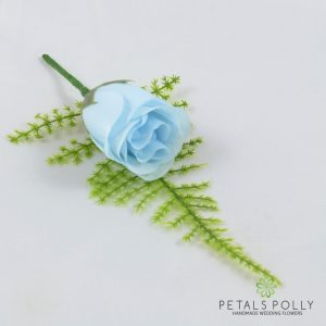 Silk baby blue rose buttonhole