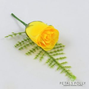Silk yellow rose buttonhole
