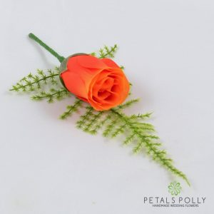 Silk orange rose buttonhole