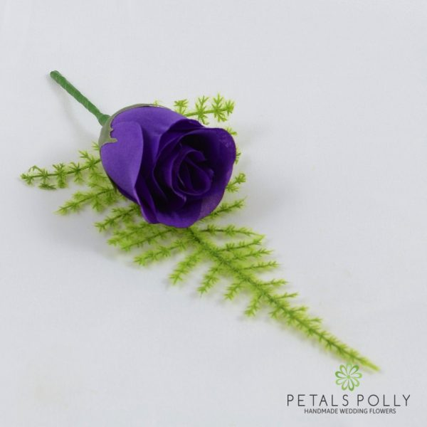 Purple Single Rose Buttonhole