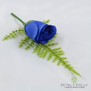 Silk royal blue rose buttonhole