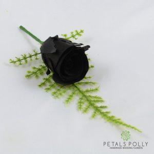 Silk black rose buttonhole