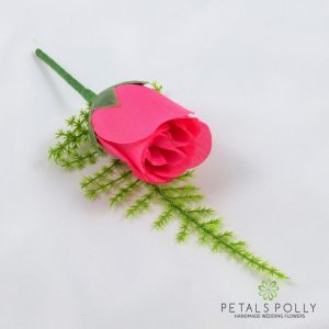 Silk hot pink rose buttonhole
