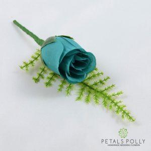 Silk teal rose buttonhole