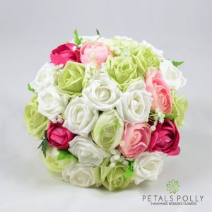 artificial pink, pistachio and white rose brides bouquet