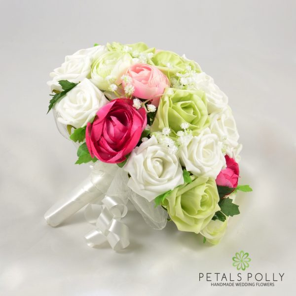 Pink, Pistachio & White Rose Brides Posy with Ranunculus