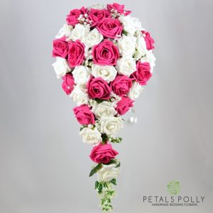 Teardrop bouquet Hot pink and white foam roses