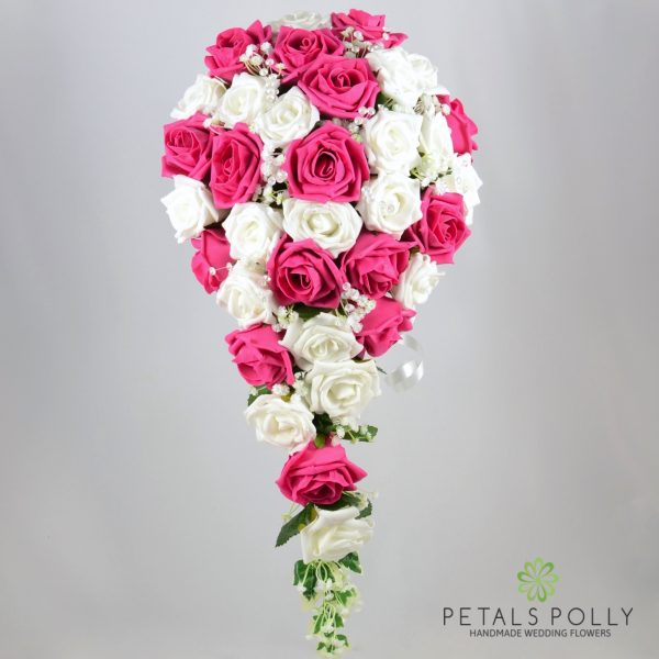 Hot Pink & White Foam Rose Brides Teardrop Bouquet