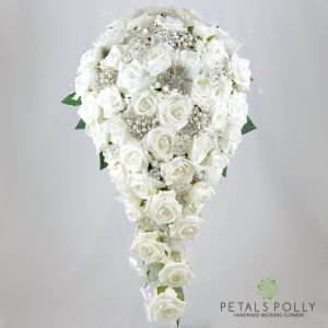 White foam rose diamante brooch brides teardrop bouquet