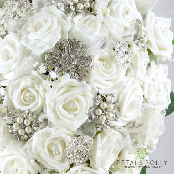 White Rose Brides Teardrop Bouquet with Diamanté Brooches