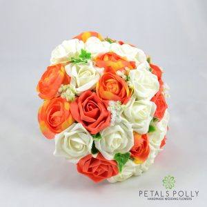 orange and ivory artificial brides bouquet