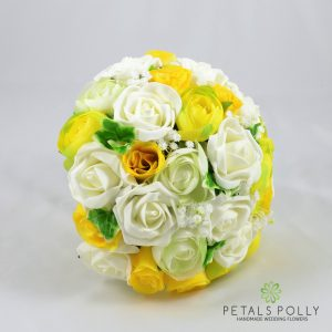 yellow and ivory artificial brides bouquet