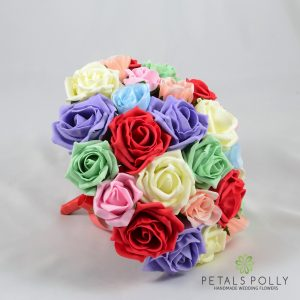Multi-coloured foam rose brides bouquet