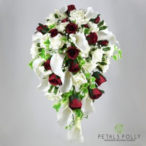 Burgundy and ivory calla lily rose brides shower bouquet