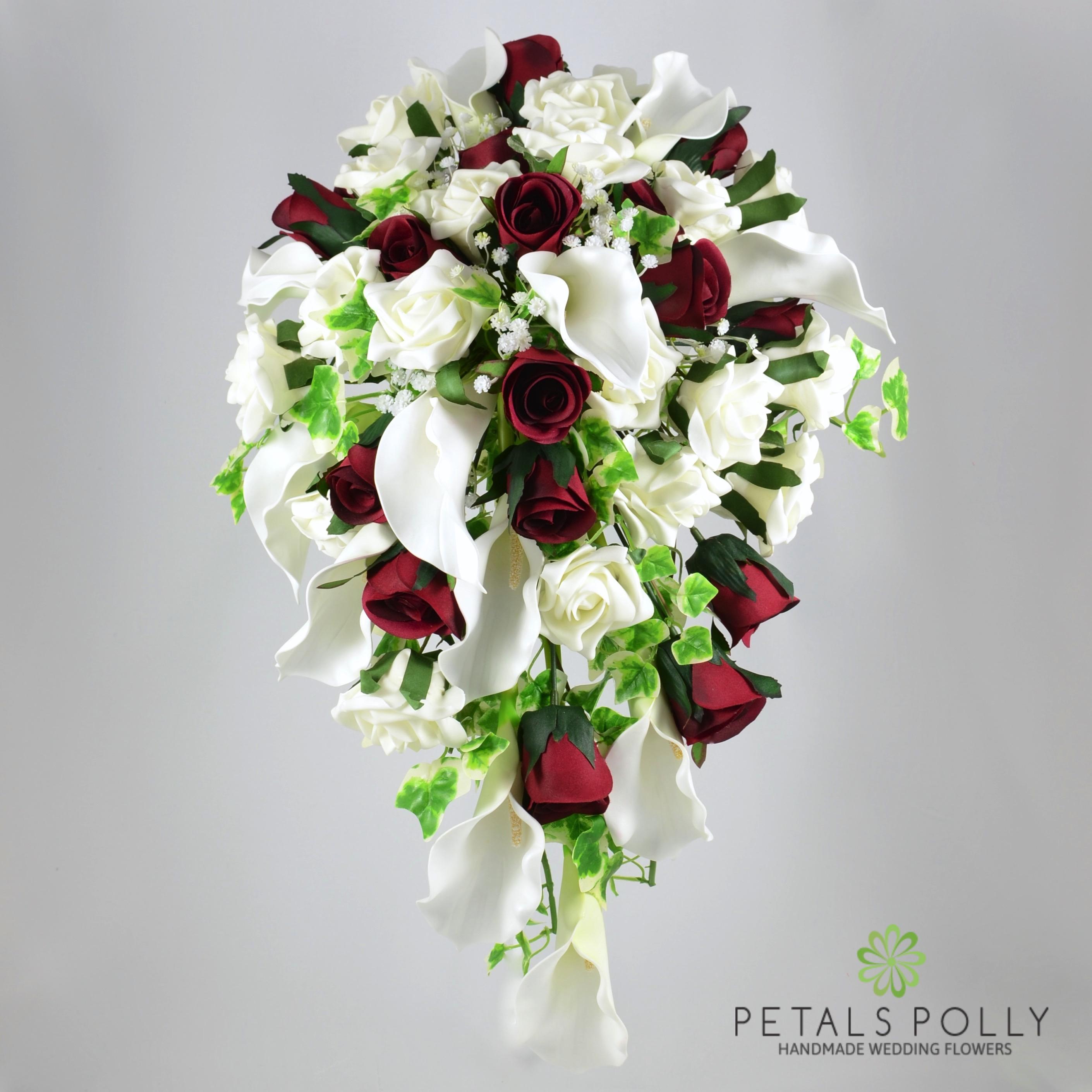 c319d5605bcead Burgundy Rose & Ivory Calla Lily Brides Shower Bouquet -