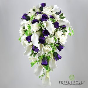 Silk purple baby pink and ivory rose brides teardrop bouquet