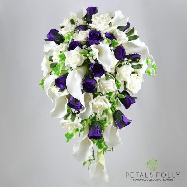 Purple Rose & Ivory Calla Lily Brides Shower Bouquet