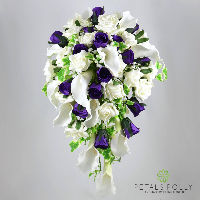 Purple Rose Ivory Calla Lily Brides Shower Bouquet