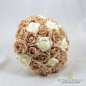 cappuccino and ivory foam rose brides posy bouquet