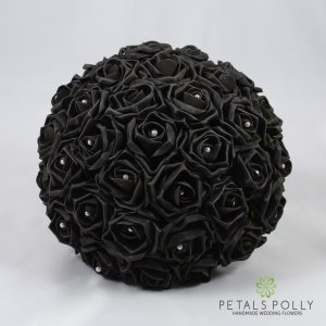 black foam rose brides bouquet pearls