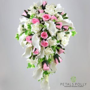 Baby pink and ivory calla lily rose brides shower bouquet