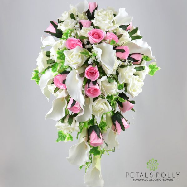 Baby Pink Rose & Ivory Calla Lily Brides Shower Bouquet