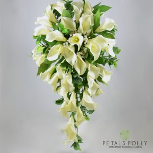 Real touch ivory calla lily brides shower bouquet