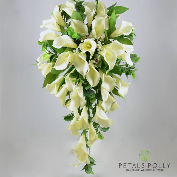 Ivory & Gold Real Touch Calla Lily Brides Shower Bouquet
