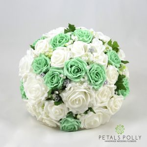 mint green and white rose artificial brides bouquet