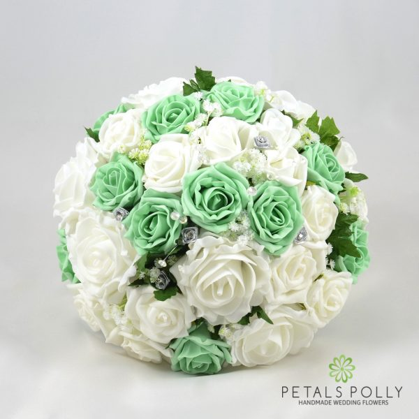 Mint Green & White Rose Brides Posy