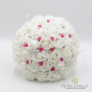 hot pink white rose brides posy