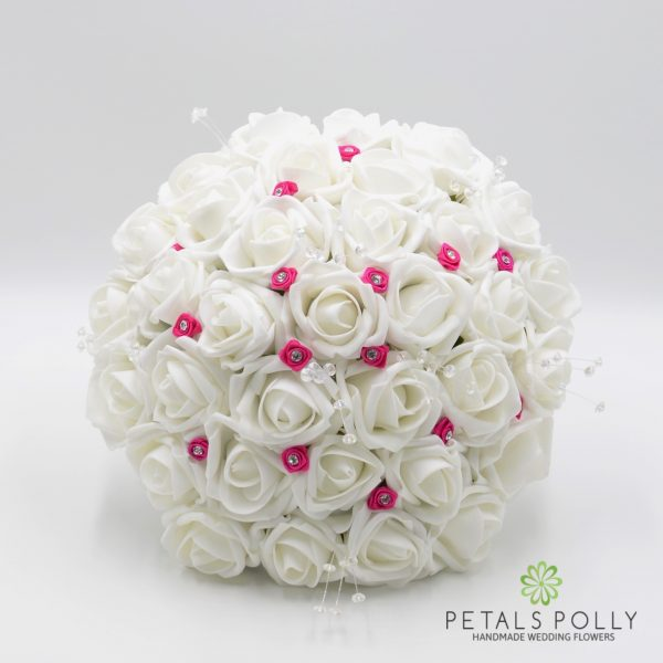 White Rose Brides Posy with Hot Pink Diamanté Ribbon Roses and Crystal Stems