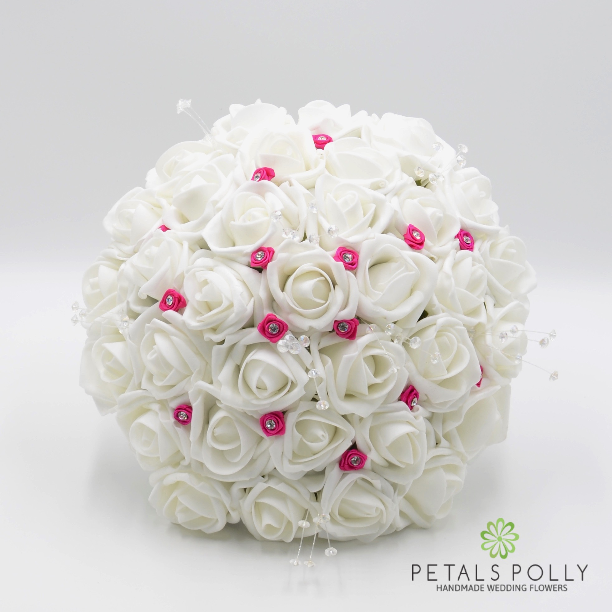 White Rose Brides Posy With Hot Pink Diamant Ribbon Roses And