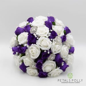 ARTIFICIAL PURPLE & WHITE ROSE BRIDES POSY WITH DIAMANTE BROOCHES