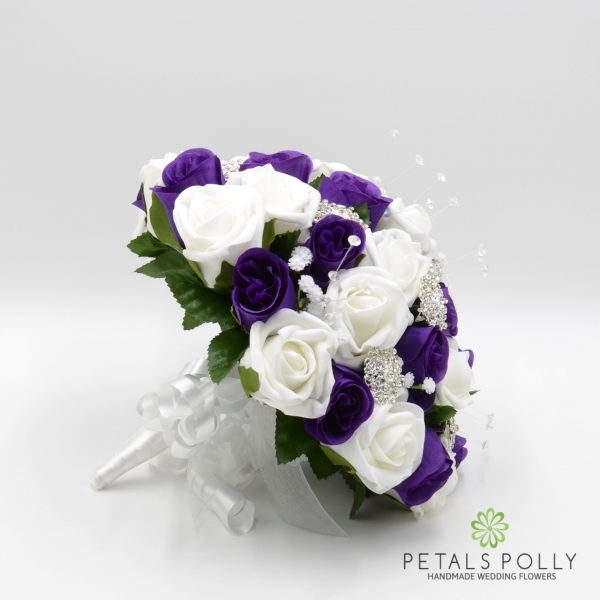 Purple & White Rose Brides Posy with Diamanté Brooches