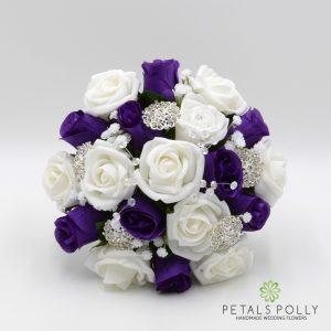purple white rose bridesmaids posy brooches