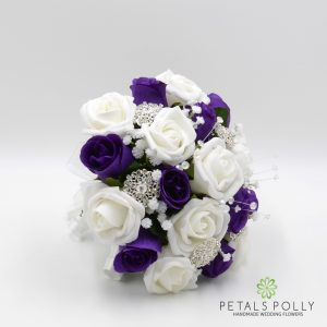 purple white rose bridesmaids posy brooches