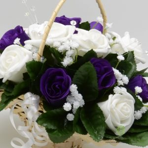 Purple & White rose silk flower girl basket