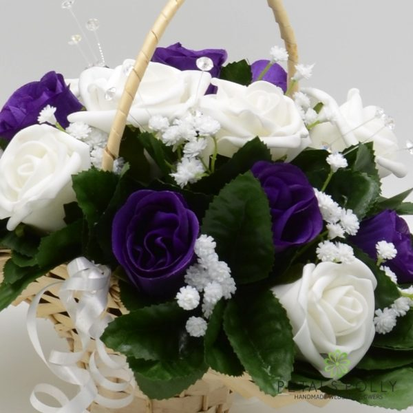 Purple & White Rose Flower Girl Basket
